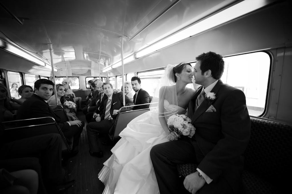 kissing on wedding bus