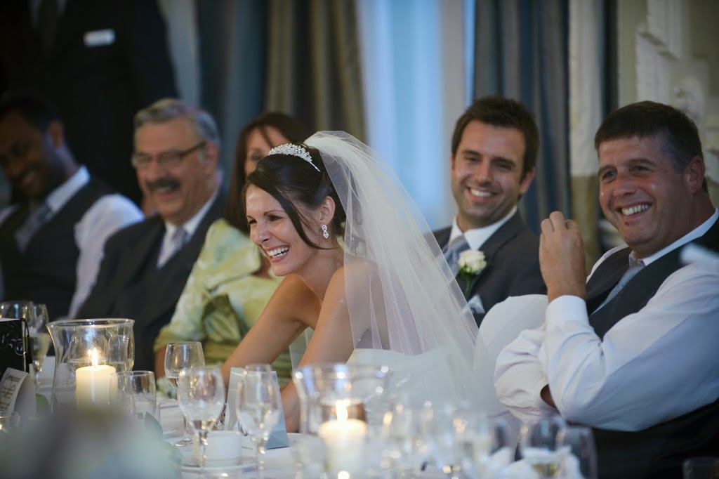 Laughing wedding speeches