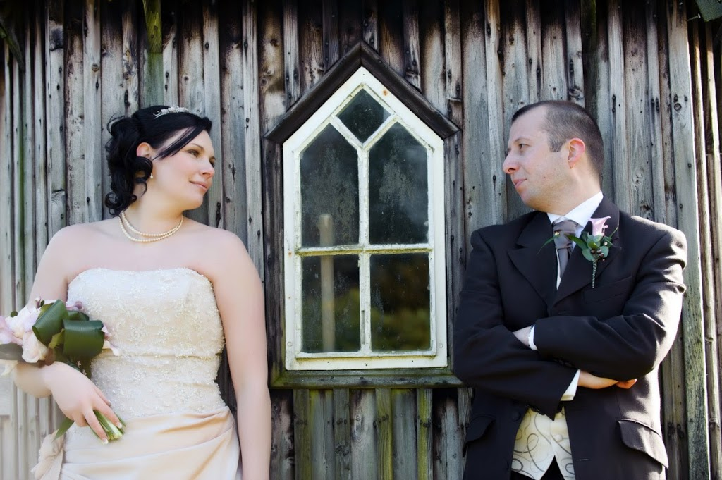 bride and groom shed
