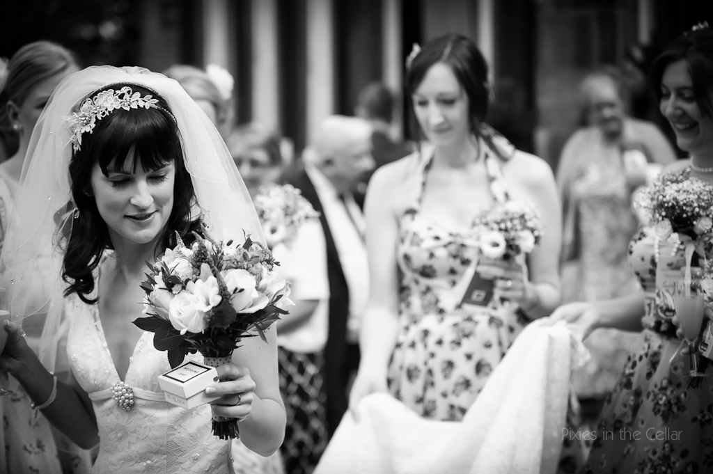 vintage bride and bridesmaids Wedding Photography Hargate Hall