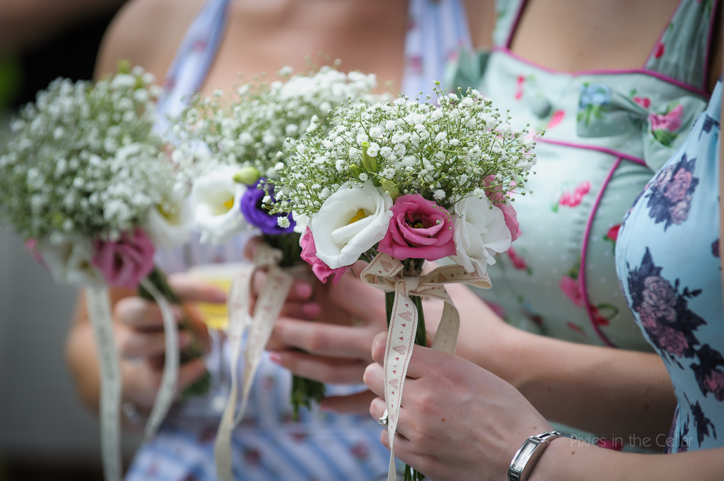 Hargate Hall rustic wedding bridesmaids flowers