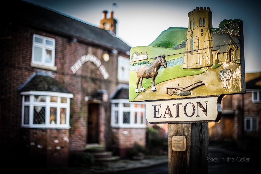 cosy winter wedding at Eaton Cheshire wedding venue village sign
