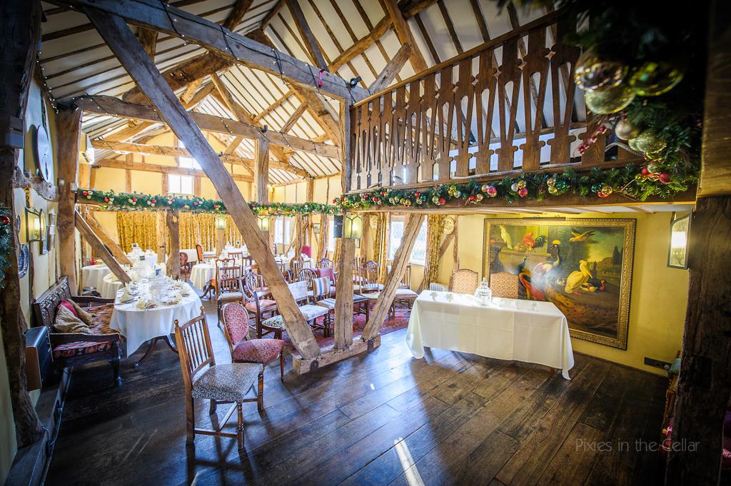 The plough inn eaton winter wedding ceremony room set up