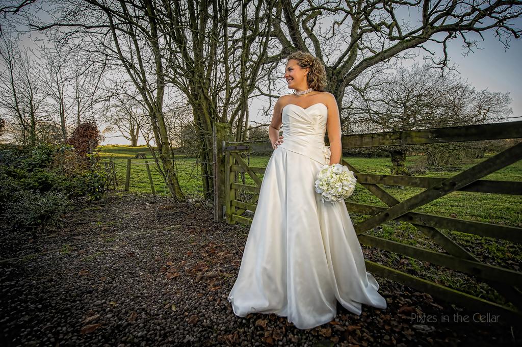 cosy winter wedding bride
