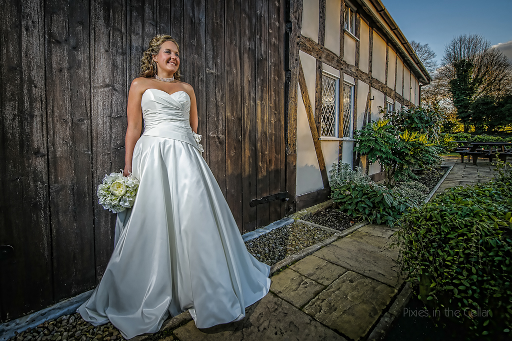 Cheshire barn cosy winter wedding bride