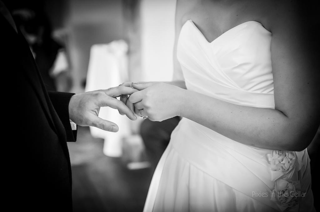 exchanging wedding rings black and white