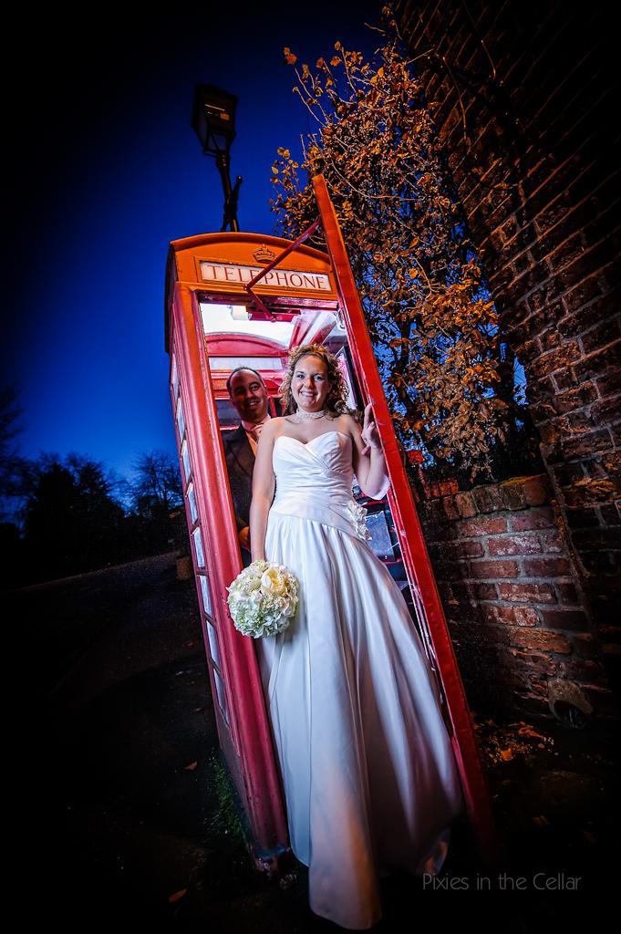 phone box bride groom