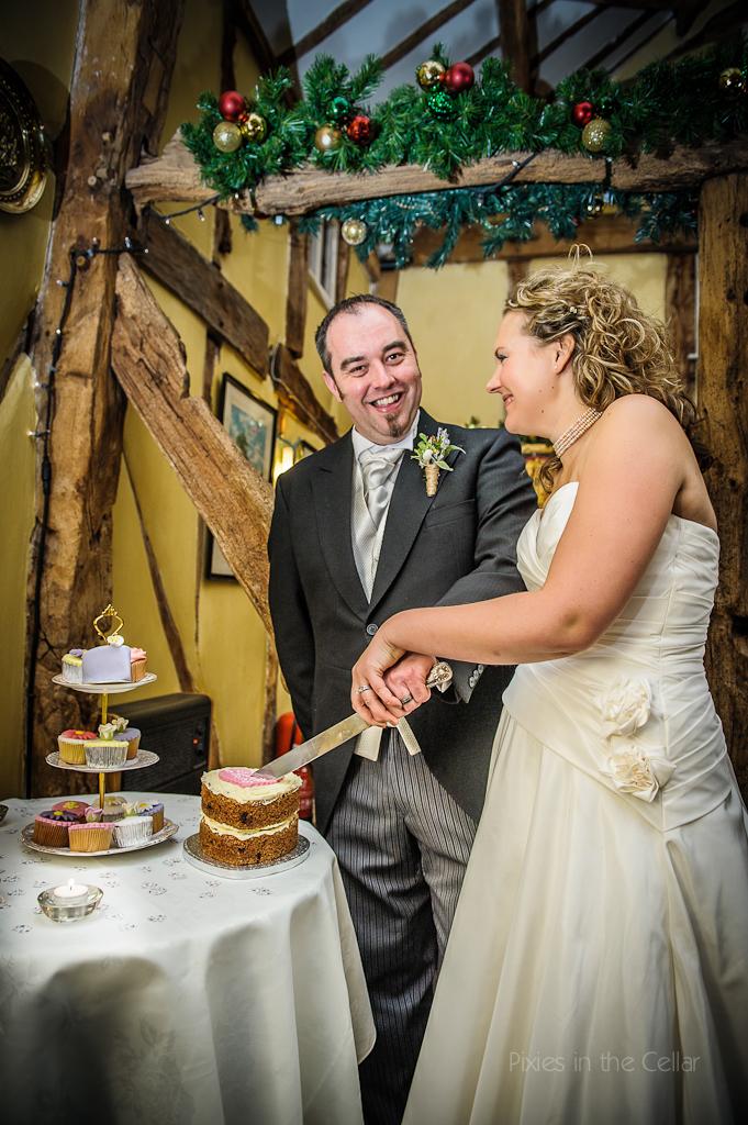 wedding carrot cake cutting