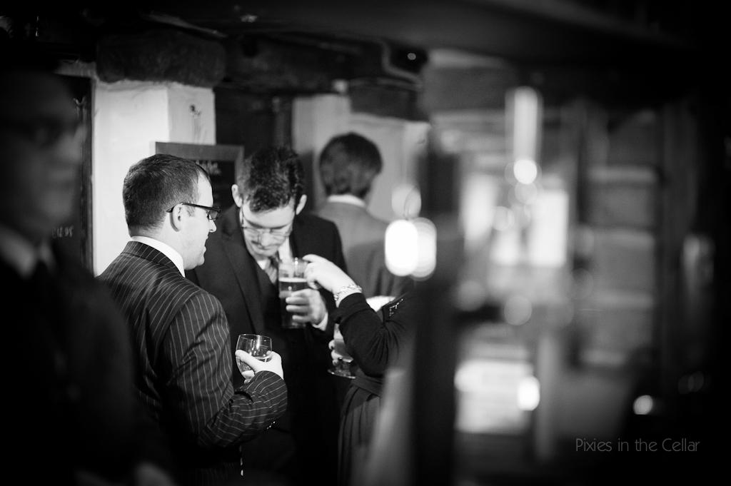 wedding guests in pub