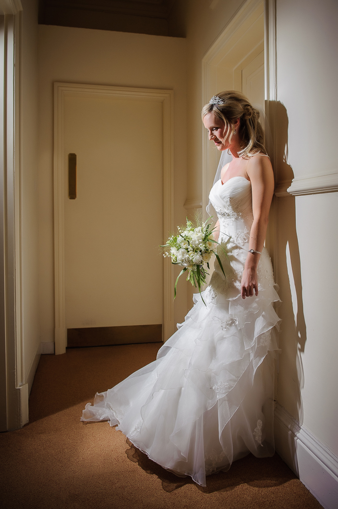 bride waiting in corridor