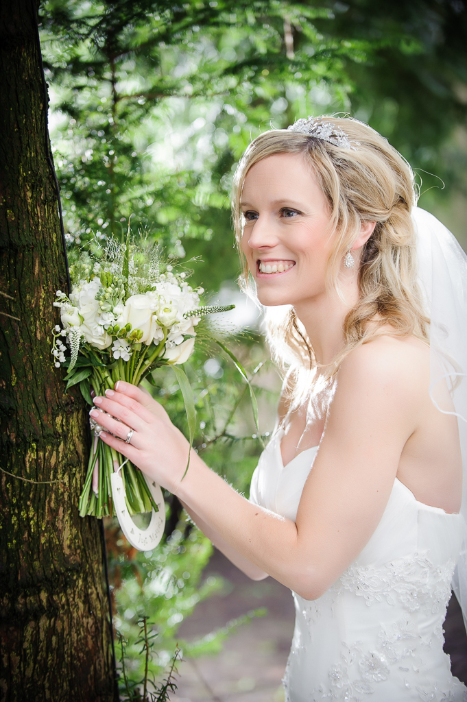 spring bride near tree