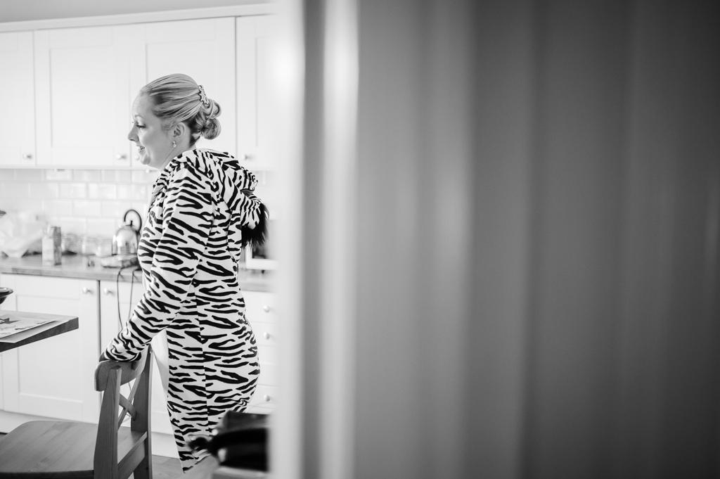 bride in zebra wonsie