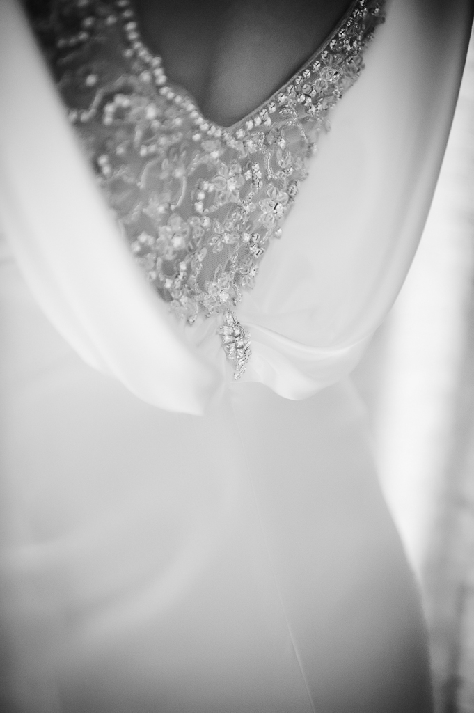 scoop back wedding dress detail