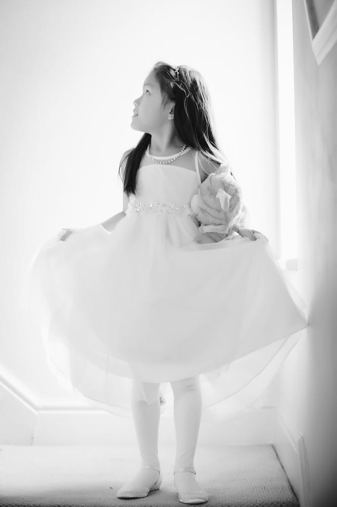 flower girl black and white