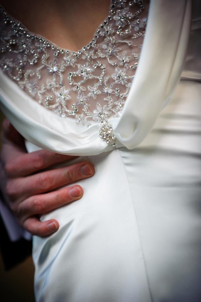 beaded detail on scoop back wedding dress