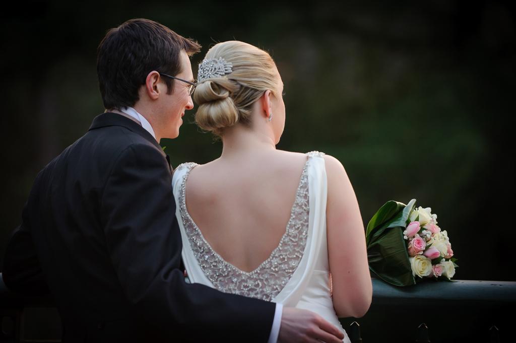 bride groom looking away