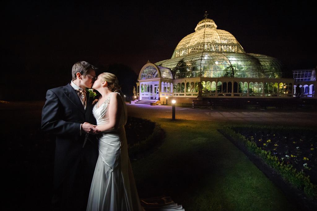 sefton park palm house bride groom night time wedding photo