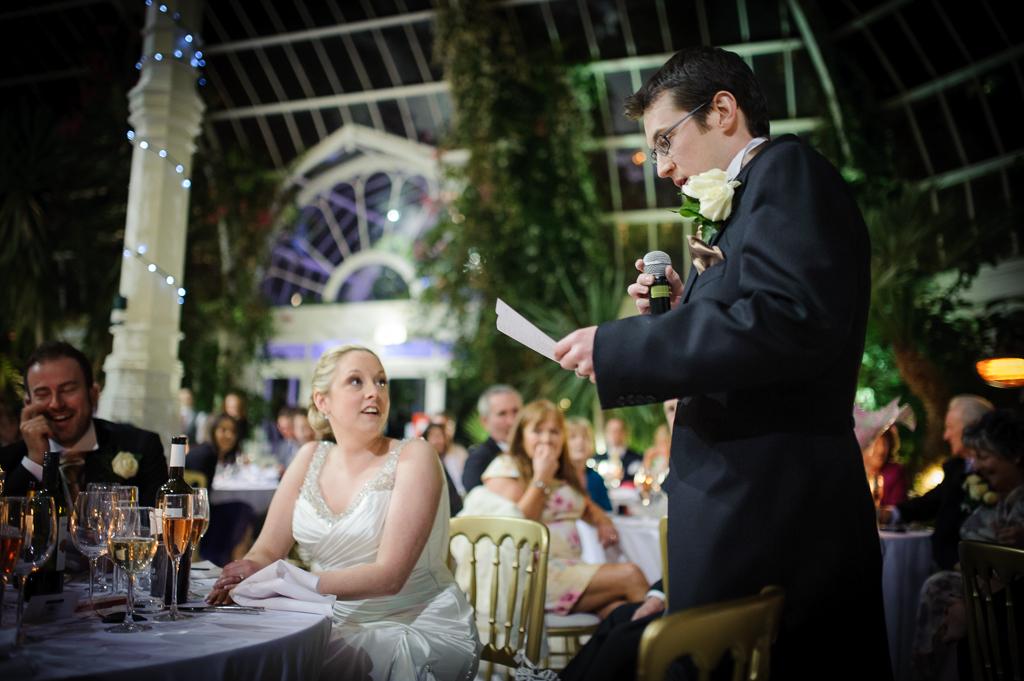 groom giving wedding speech at sefton park palm house