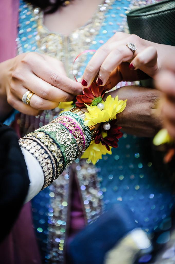 Manchester English Asian Wedding flowers on wrist