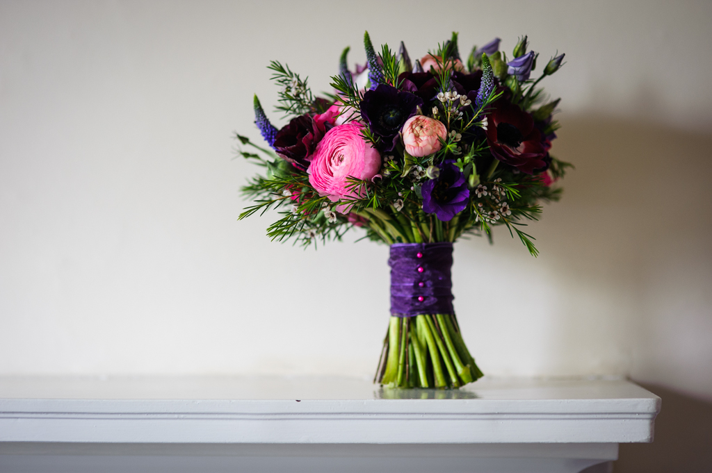 Pinks and purples bridal bouquet