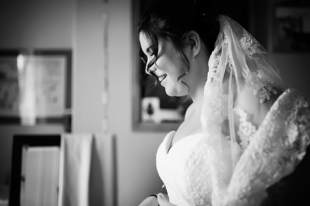 bride getting ready with veil