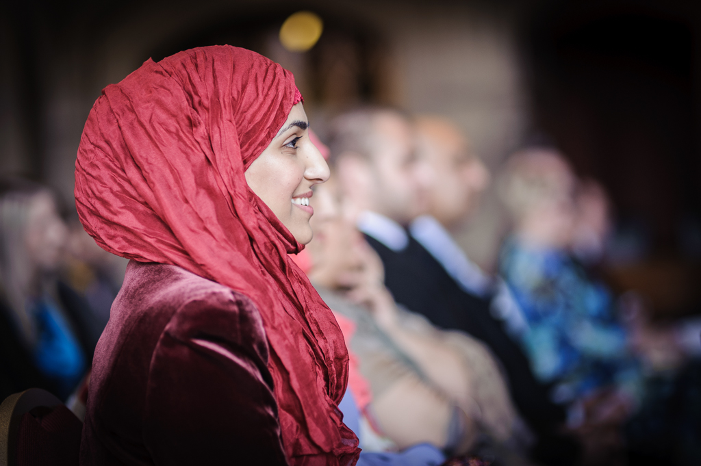 smiley girl in red headscarf