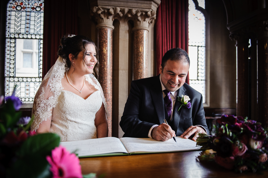 Manchester town Hall Wedding signing register