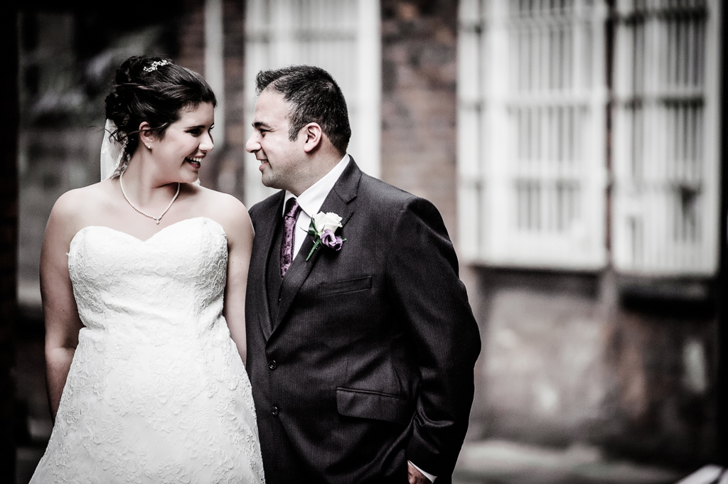 bride and groom happy