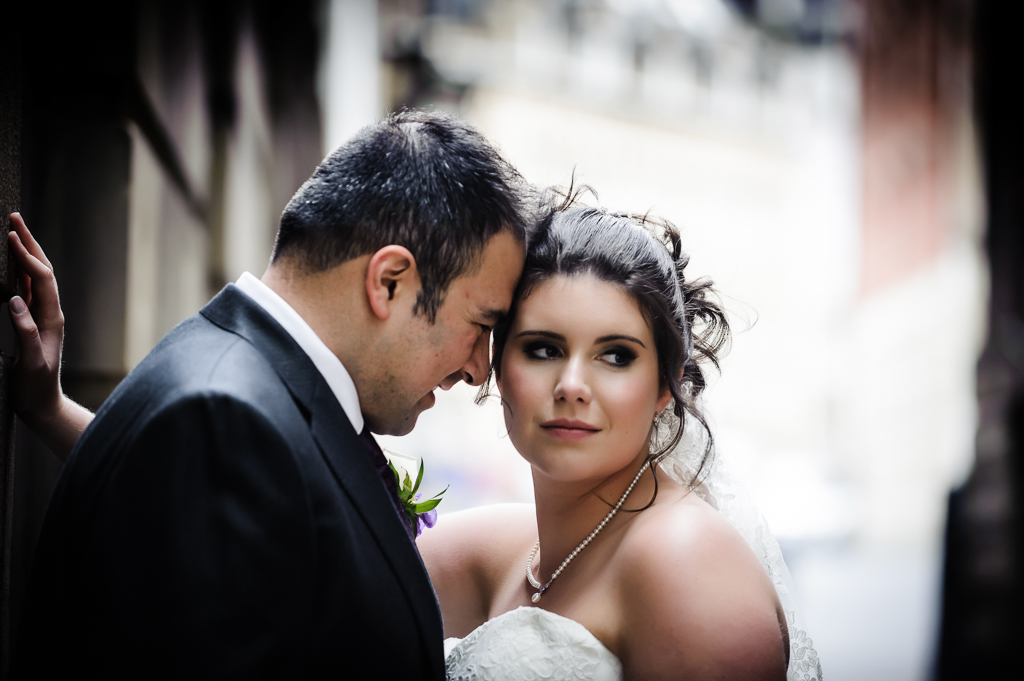 Manchester city centre wedding couple