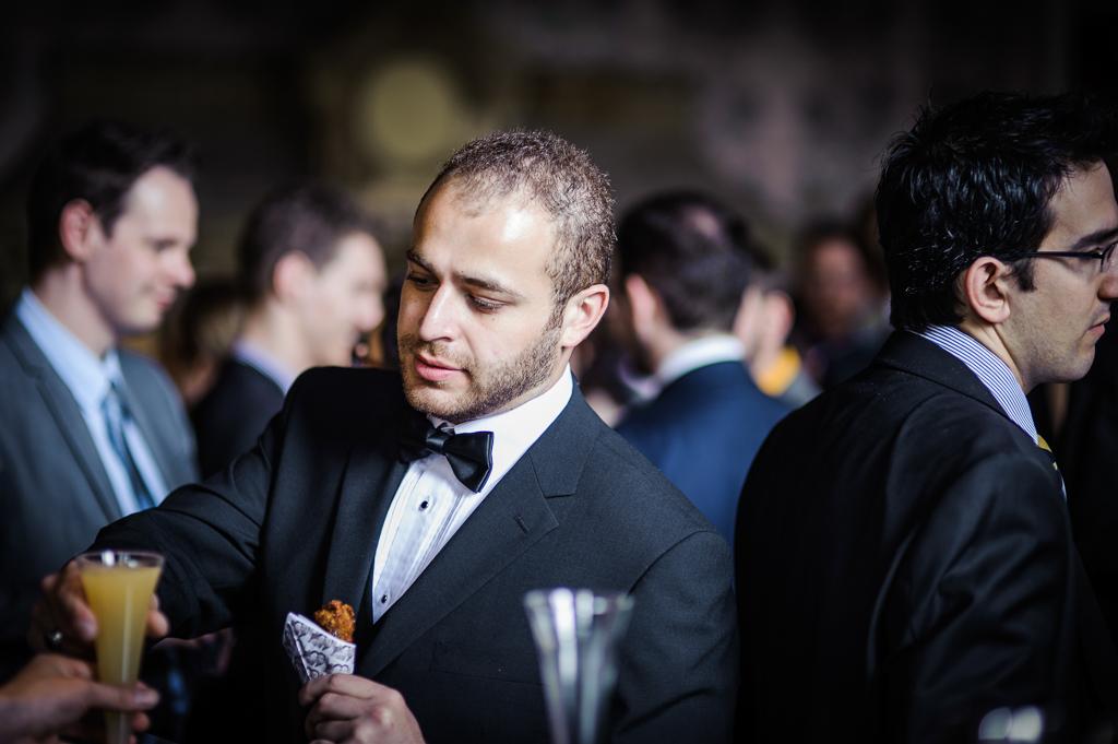 black tie wedding guest