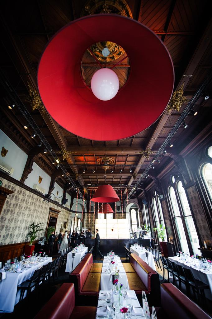 Room Restaurant Manchester Wedding huge red lampshade