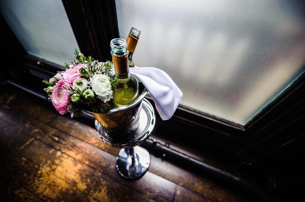white wine and wedding flowers