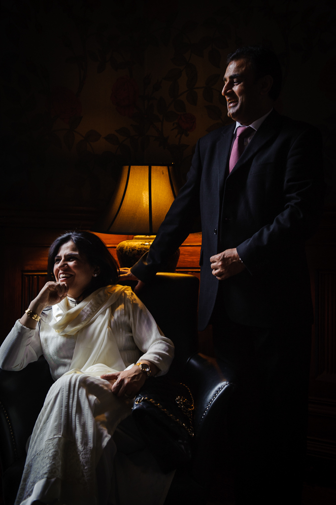 wedding guests moody lighting