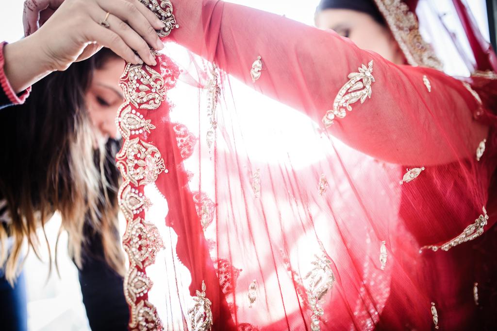 red saree wedding