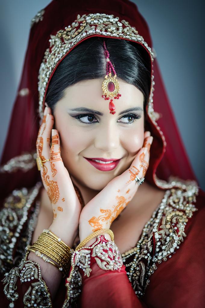 English bride asian red wedding sari