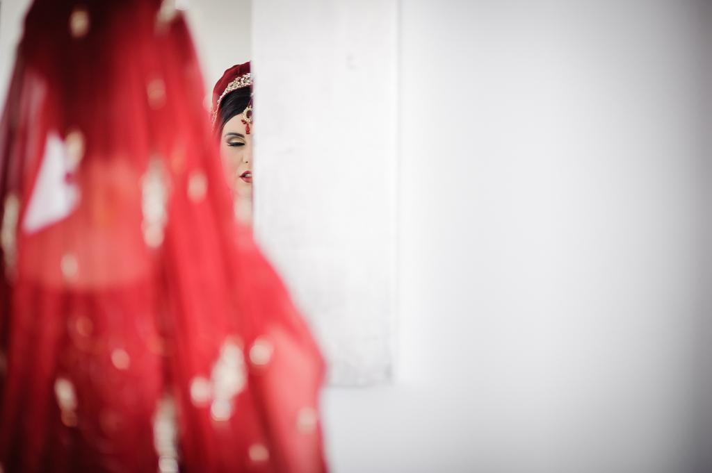 walima bride in mirror