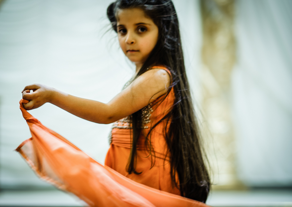 asian girl orange dress
