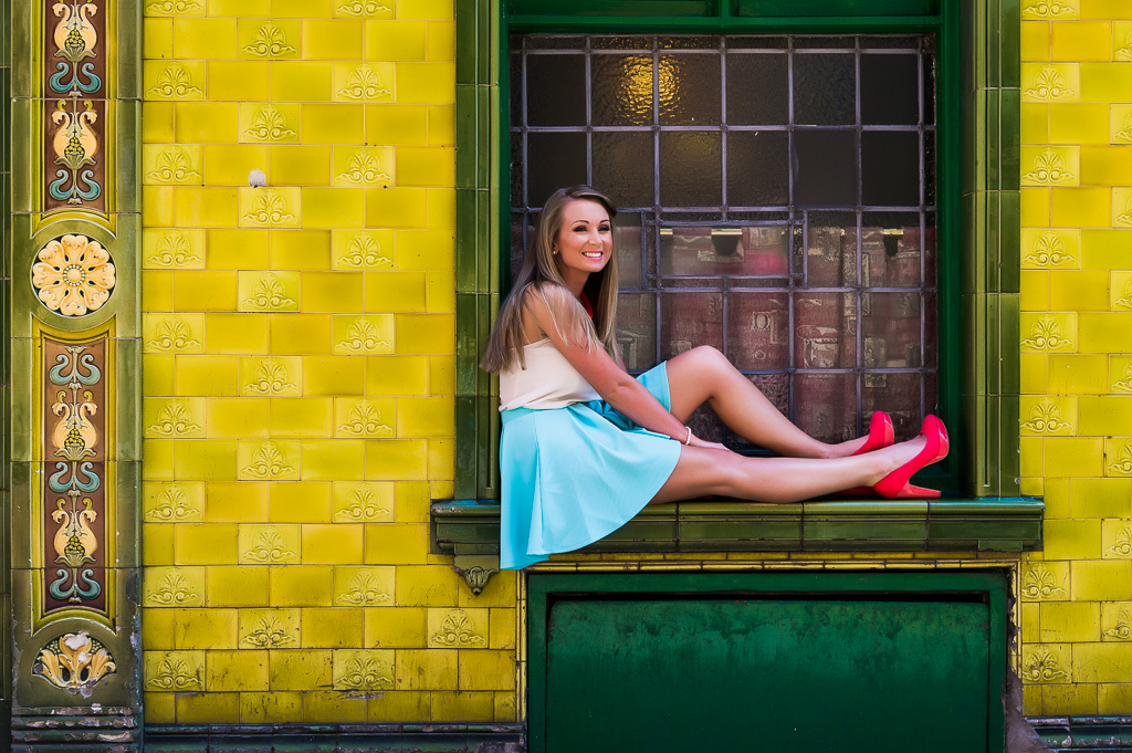 Engagement shoot in Manchester yellow and green tiles