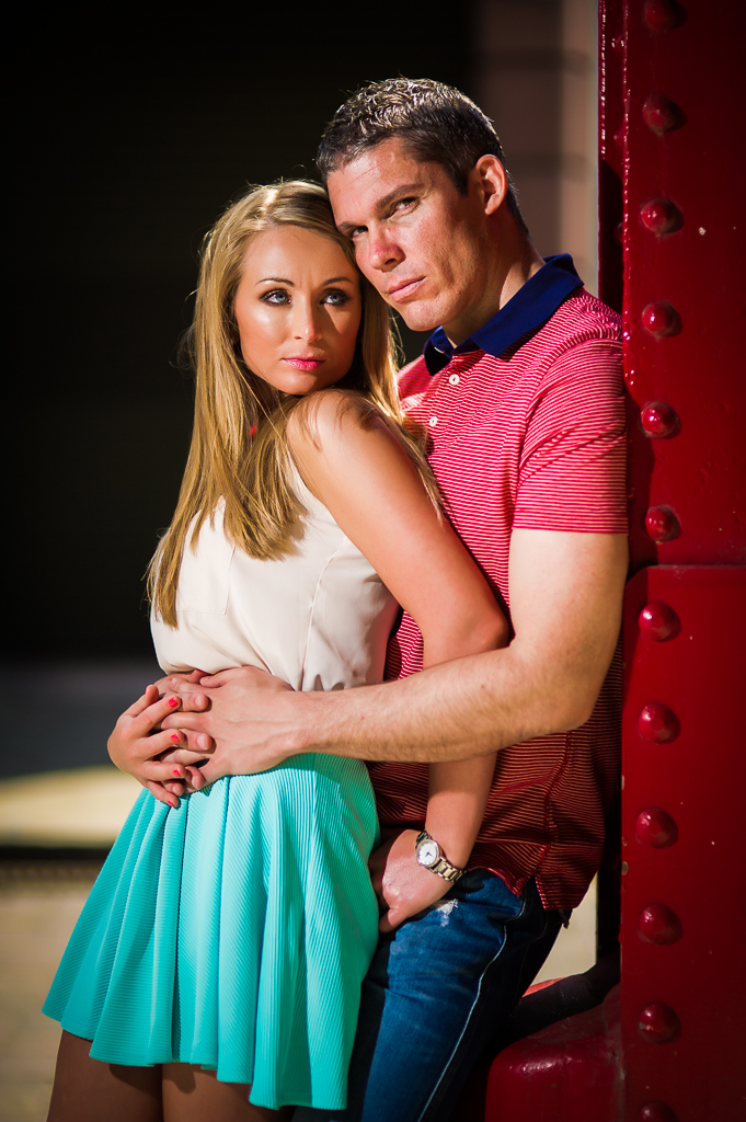 couple in bright clothes moody photo