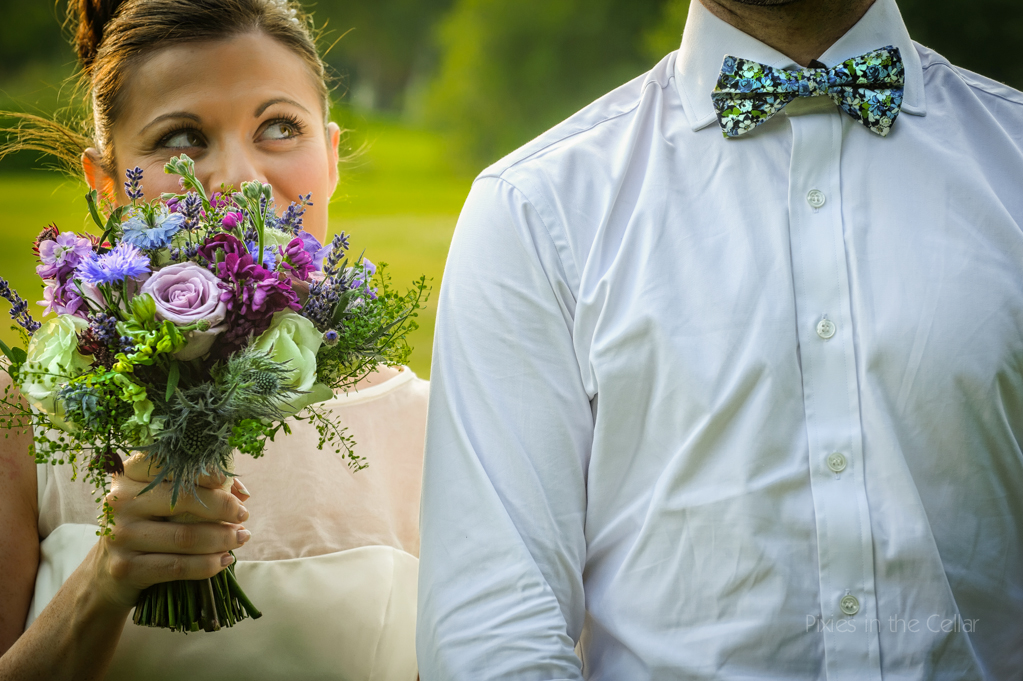 funky bow tie country wedding