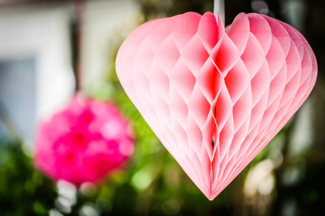pink heart wedding decoration