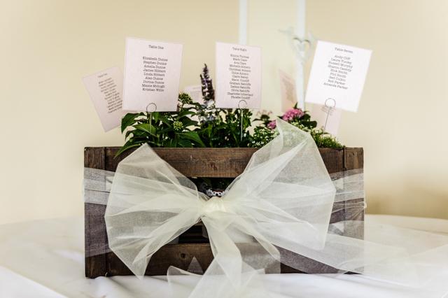 crate ribbon herb wedding table plan
