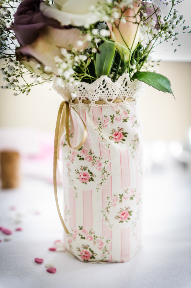 floral and lace jam jar holders