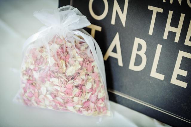 dried flower confetti in organza bag