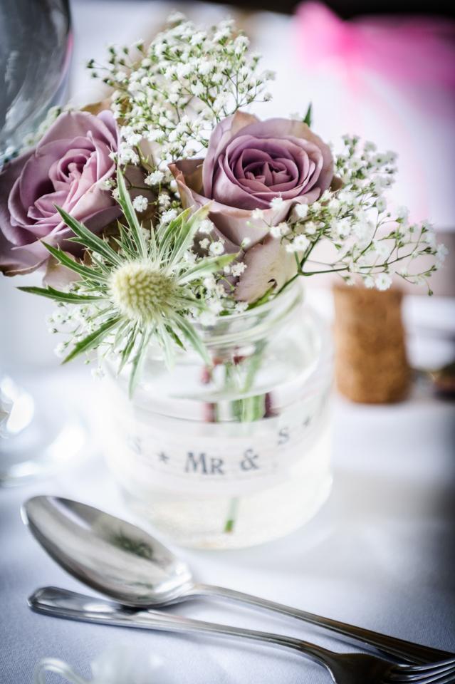 jam jar flowers wedding langdale chase