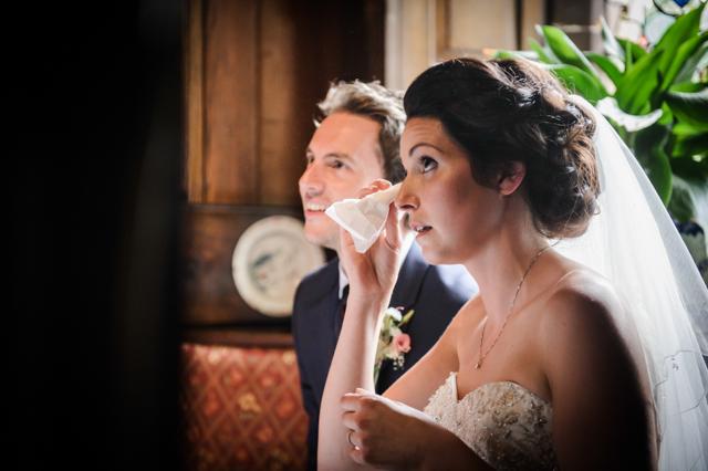 bride with tissue