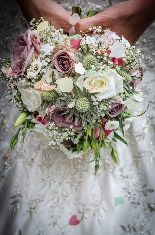 wedding bouquet and confetti