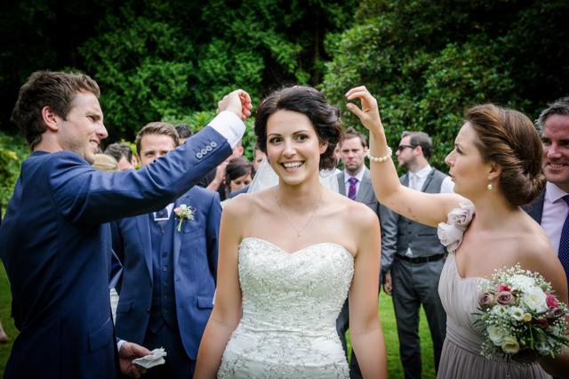 confetti in brides hair