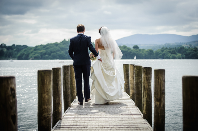 bride groom on jetty Lake District