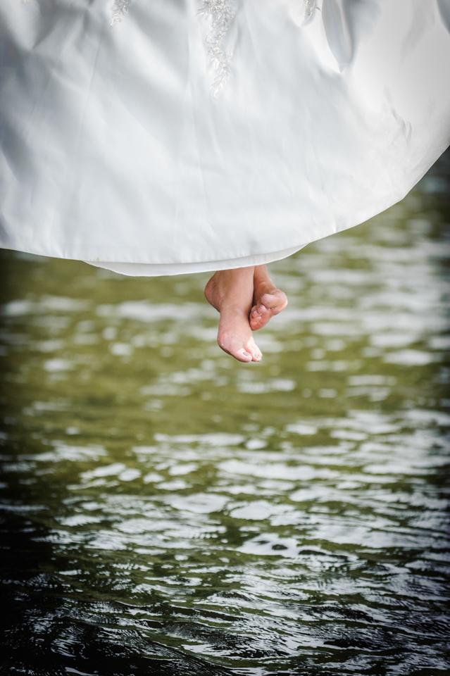 bride feet over water